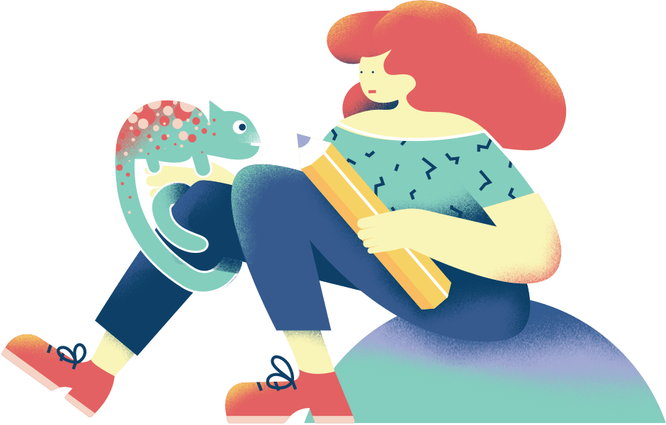 An illustration of a student. She's sitting on the ground listening to her professor. She's holding an especially large pencil while a chameleon sits on her leg. I don't know what class this is, but seems like fun.