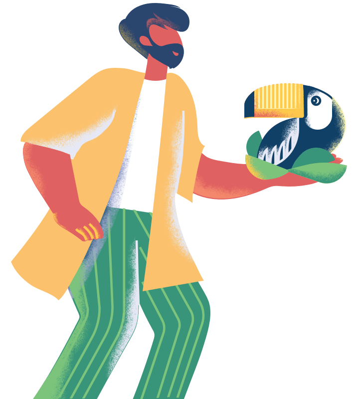 An illustration of a teacher. He has a big beard. Something you might expect from a university professor. He's talking to a student while holding a colorful tucan in his hand.