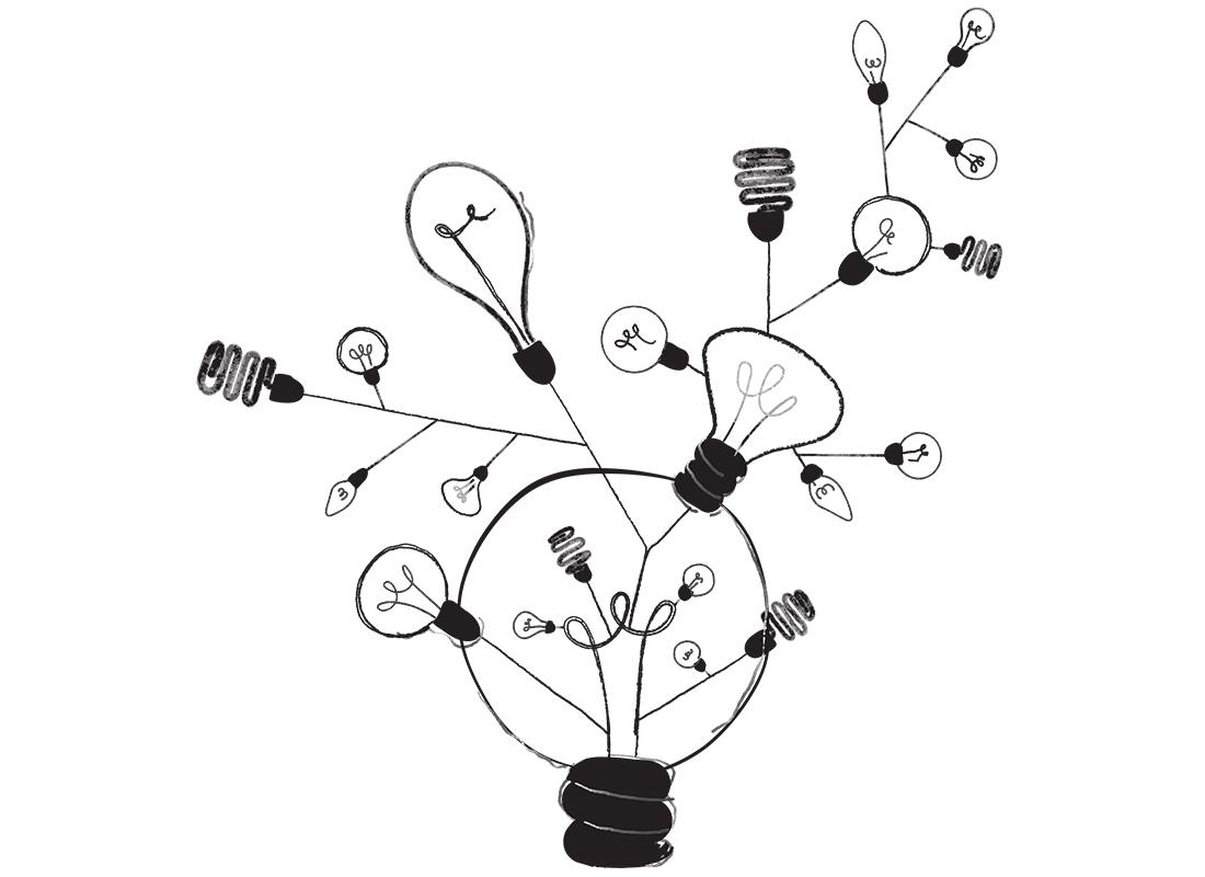 An illustration of a lightbulb, connected to many other lightbulbs. Some of the lightbulbs are even energy efficient. It's a metaphore for knowledge. A bunch of connected ideas.