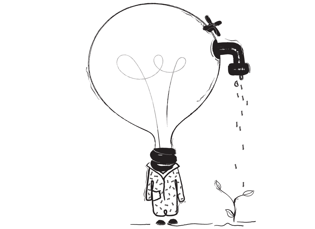 An illustration of a person with a large lightbulb for a head. There is a tap connected to the lightbulb, which is dripping water onto a growing plant. It sounds weird, I know.