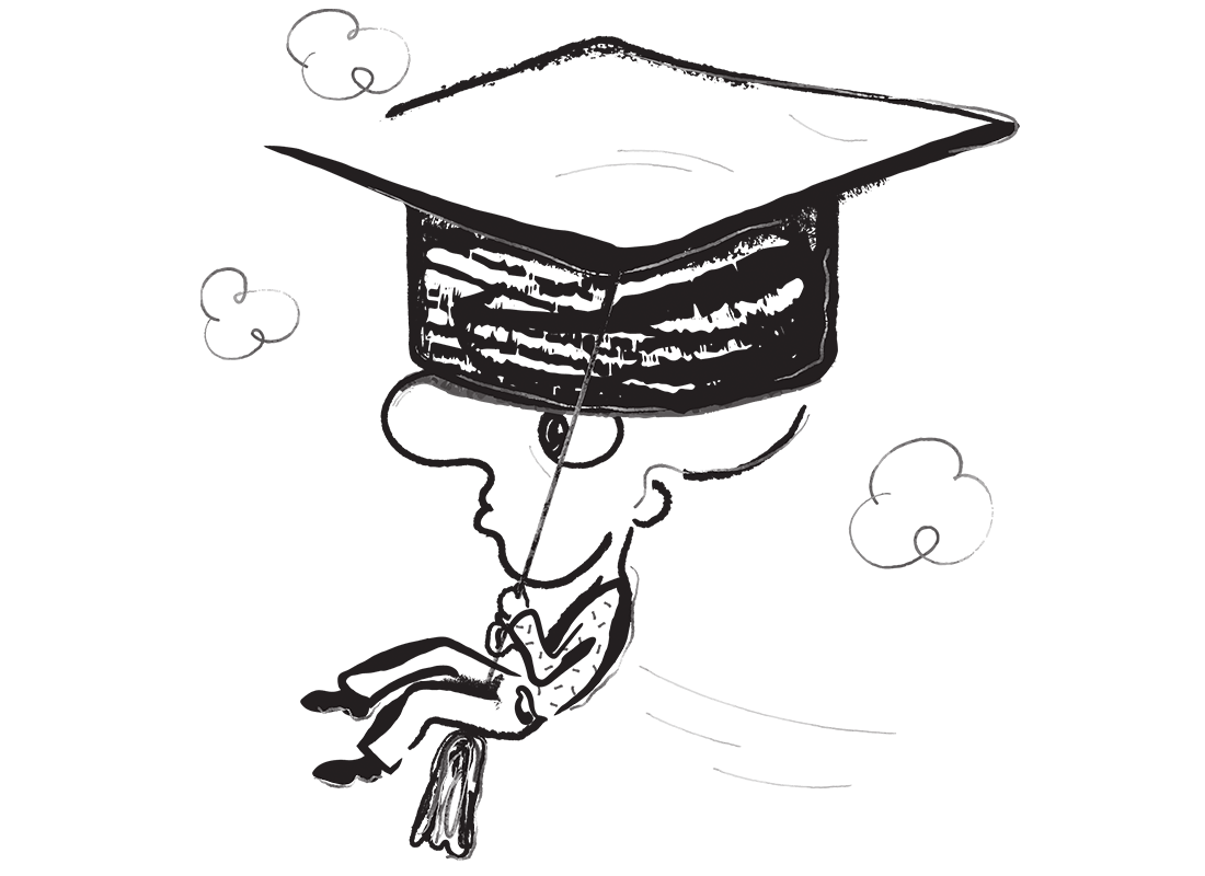 An illustration of a man floating through the air wearing a graduation hat. He has a rather large nose.