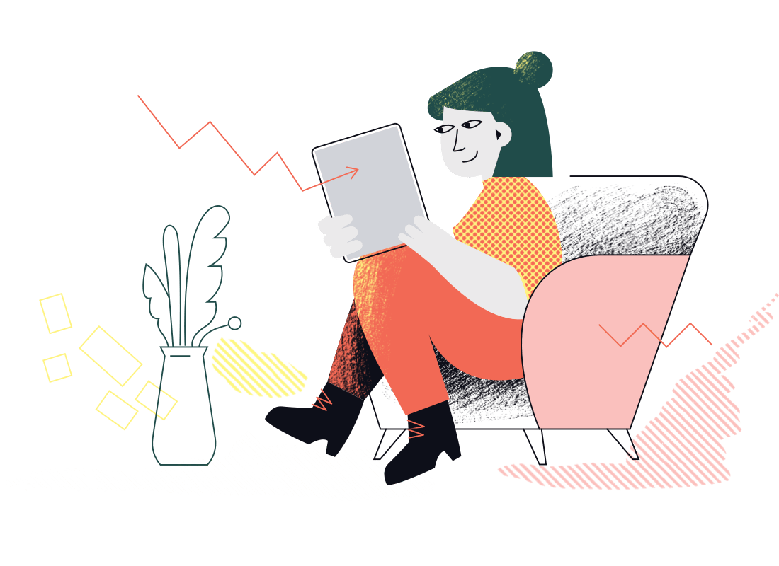 An illustration of a woman casually sitting on an armchair, reading a document. A crooked arrow appears out of thin air landing upon the document. What could this mean?